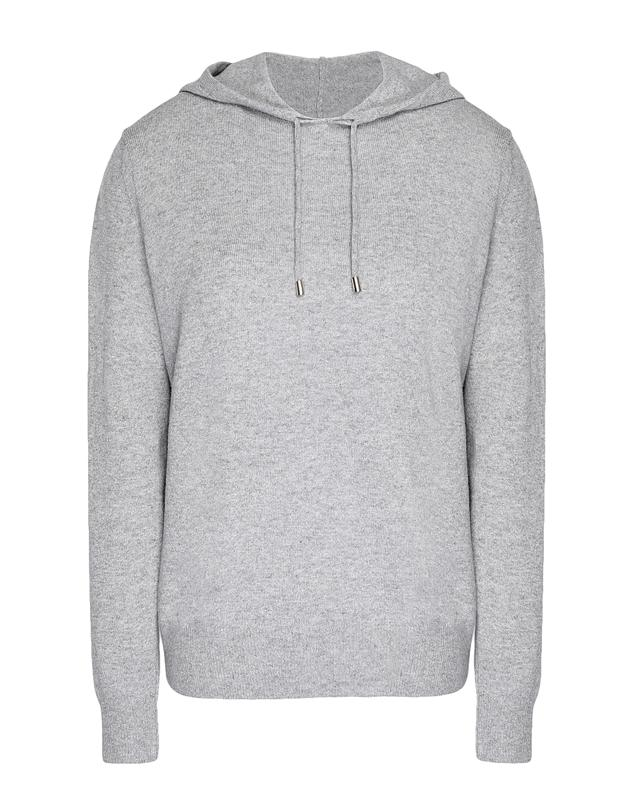 The 8 by YOOX Cashmere Essential Hoodie in the color Grey is made from 100% regenerated cashmere.
