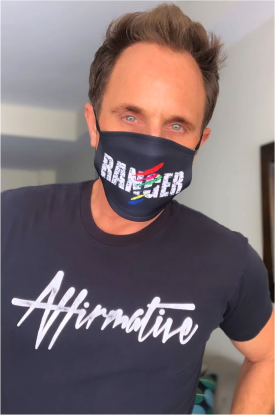 David Yost wearing an Affirmative Clothing Company t-shirt and face mask