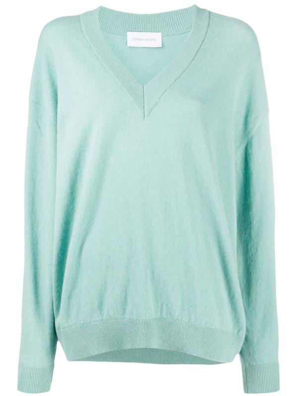 The Christian Wijnants Khage Sweater in the color Aqua is an oversized v-neck sweater with a loose fit, made out of Italian Yarn, wool and alpaca blend and made in Bulgaria.