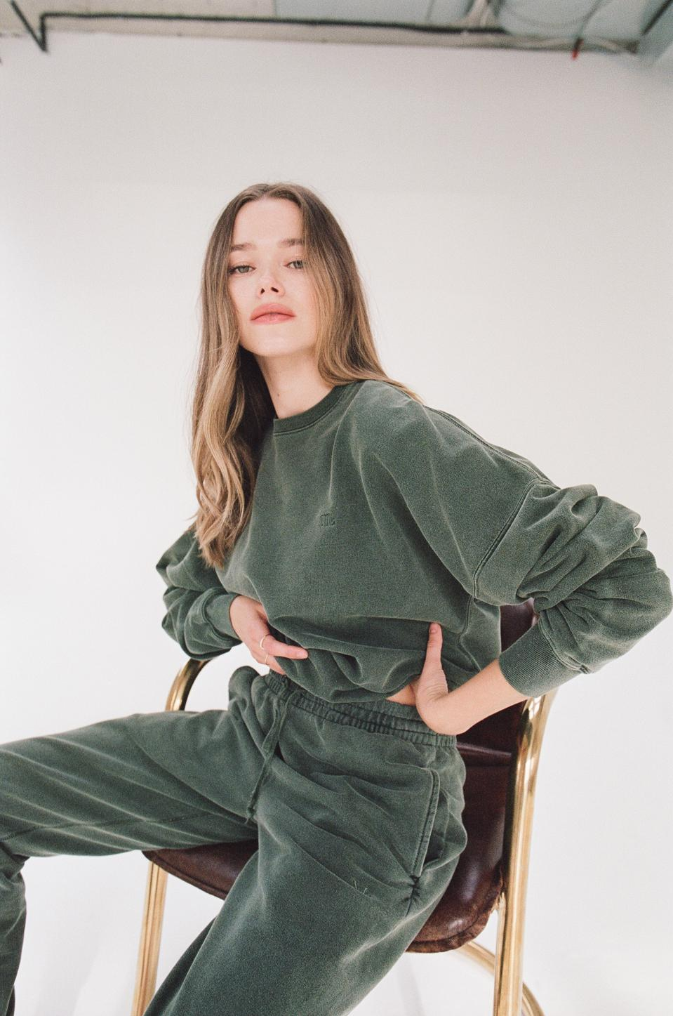Valeria Lipovetsky wearing The Everyday Sweatset in Forest