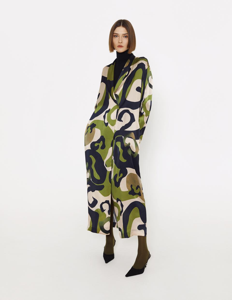 Peignoir-style silk robe with 'Traveller' print from LESSLESS x Alina Zamanova FW20 Art Line. Midaxi length, relaxed wrap fit with ties, two pockets.