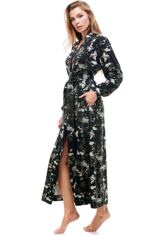 MASONgrey Banded Long Robe in Black Mystic