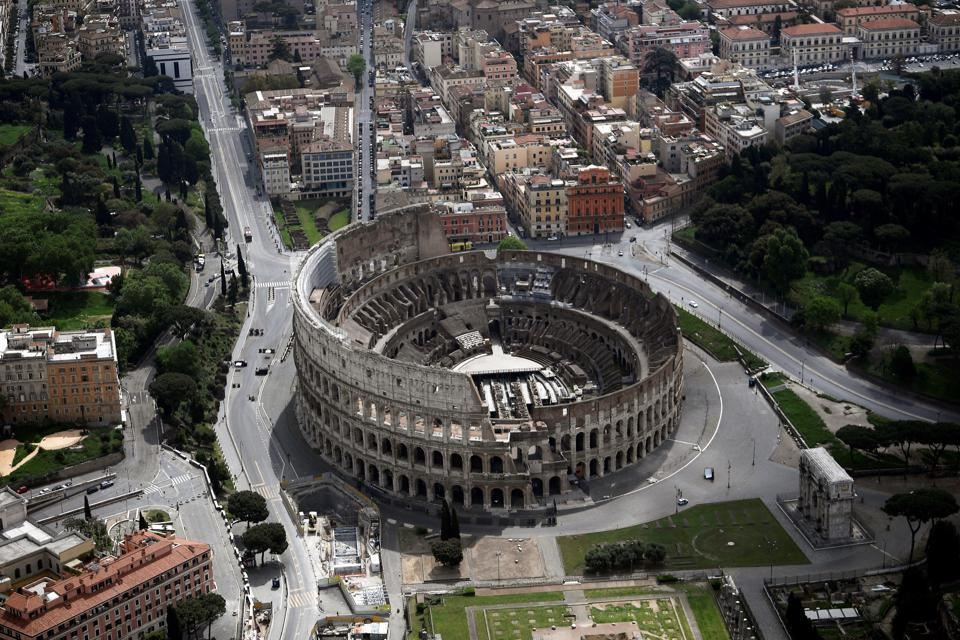 The empty streets around Rome's Colosseum in May 2020