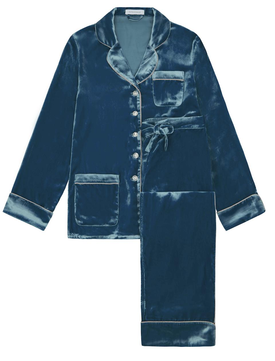 Olivia von Halle Silk Velvet Coco Astor Pajama Set in Teal Blue