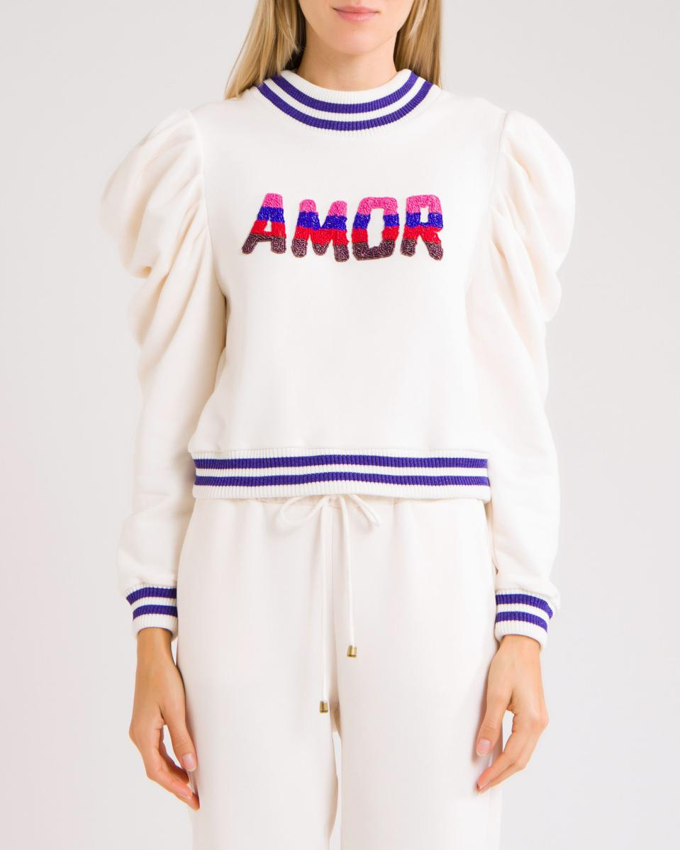 """PatBO Hand Beaded """"Amour"""" Sweatshirt. 10% of proceeds will be donated to the Susan G. Komen Organization."""