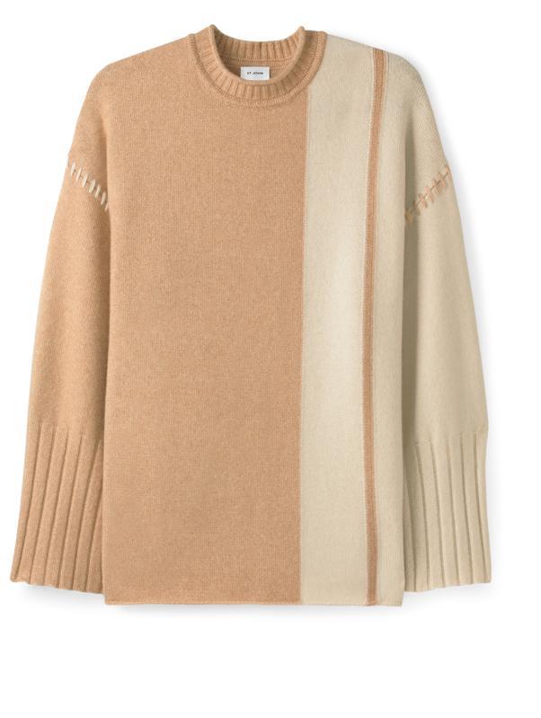 ST. JOHN Cashmere Paneled Wide Sleeve Sweater