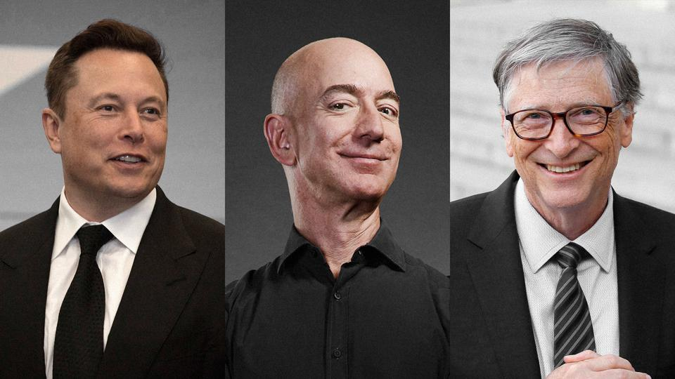 Three portraits. Elon Musk on left, Jeff Bezos in the middle, and Bill Gates on the right.