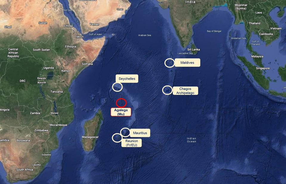 Location of Agalega, that has 800 inhabitants of Mauritius living on it