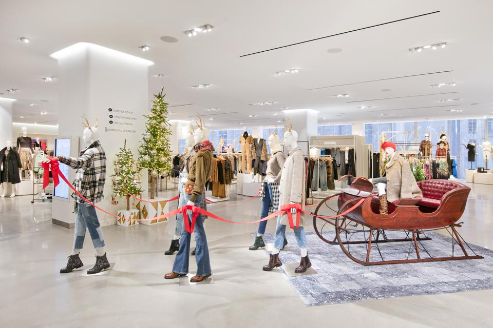 Mannequins pull a sleigh at Nordstrom's 57th Street flagship in Manhattan.