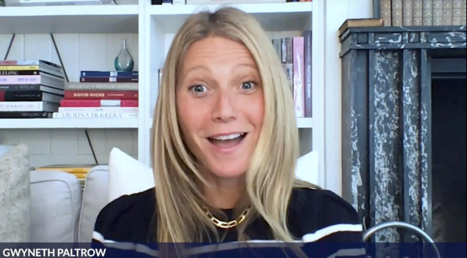 Actress Gwyneth Paltrow making a surprise face on Zoom