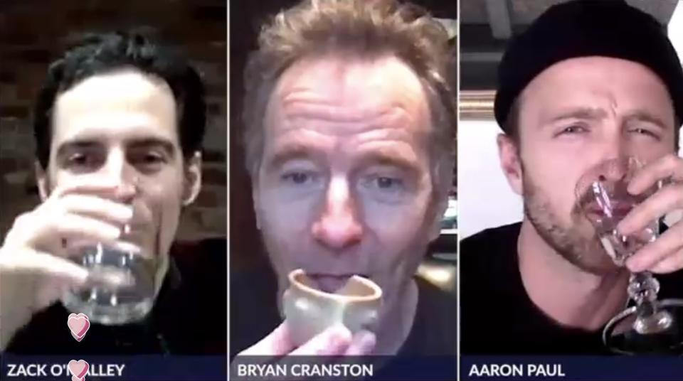 Zoom with Breaking Bad actors drinking shots of their Dos Hombres Mezcal