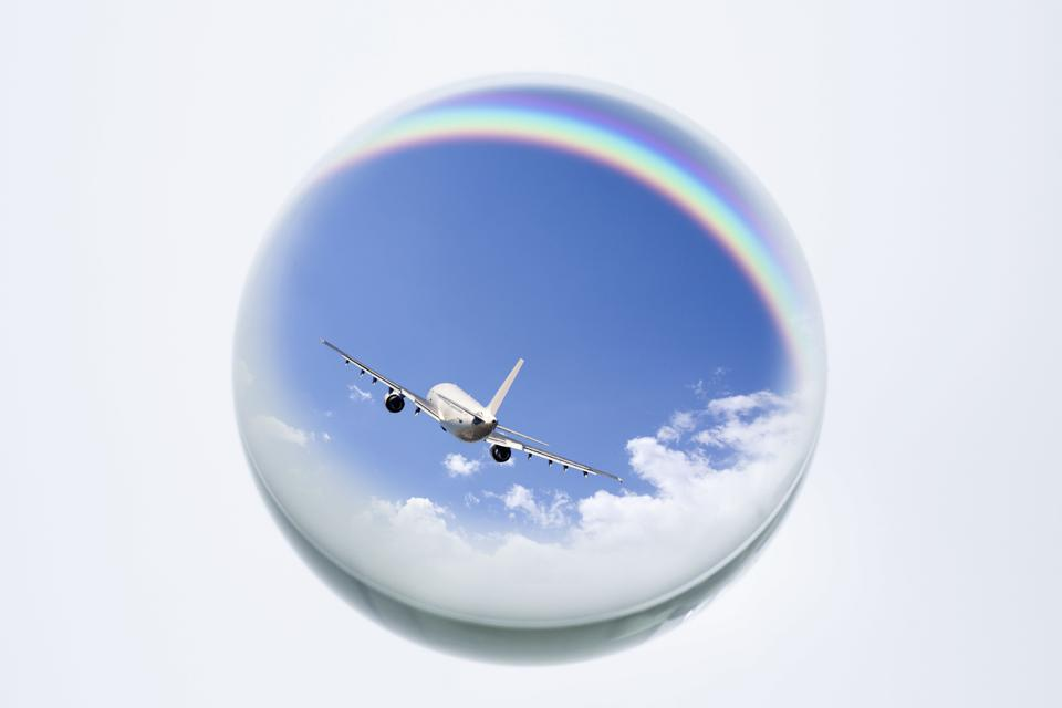 Airplane in a crystal ball