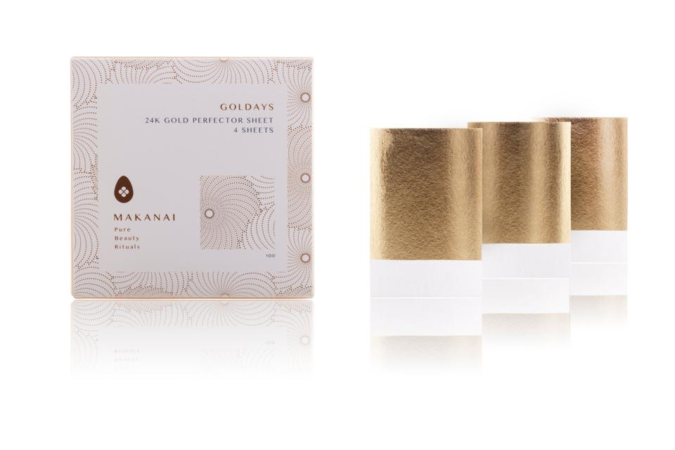 Gold-infused skincare gifts Makanai Goldays 24k Gold Perfector Sheets