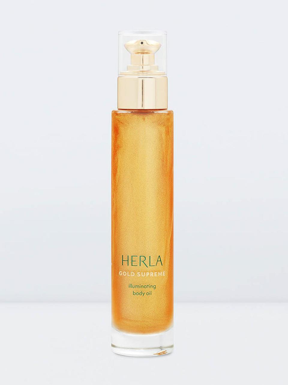 Gold-infused skincare gifts Herla Gold Supreme Illuminating Body Oil