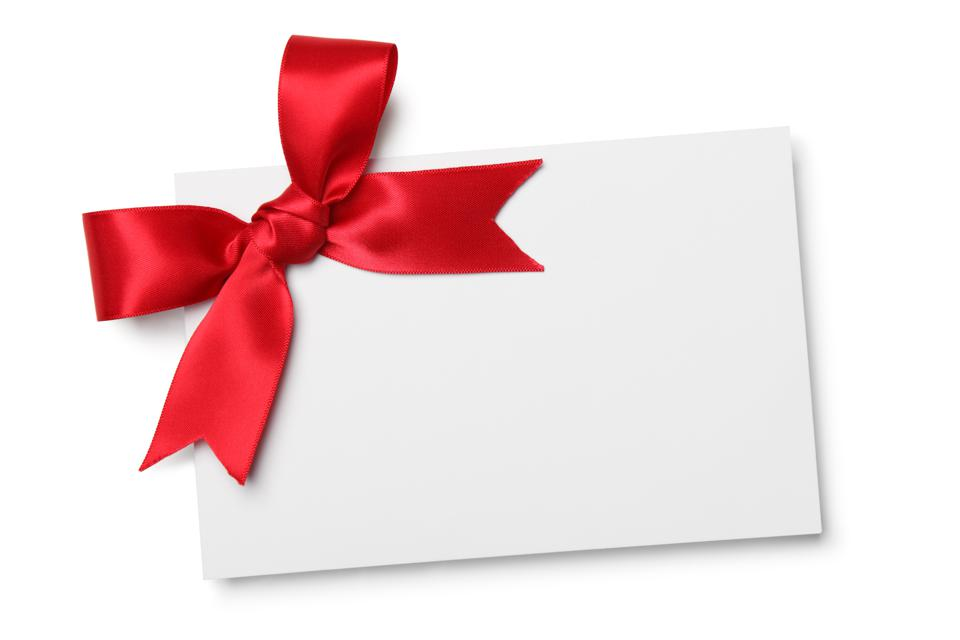Blank card with red ribbon bow