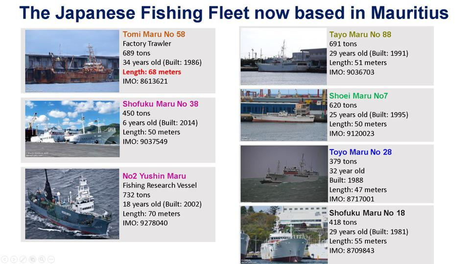 The seven Japanese vessels using Mauritius as a base for regional fishing operations