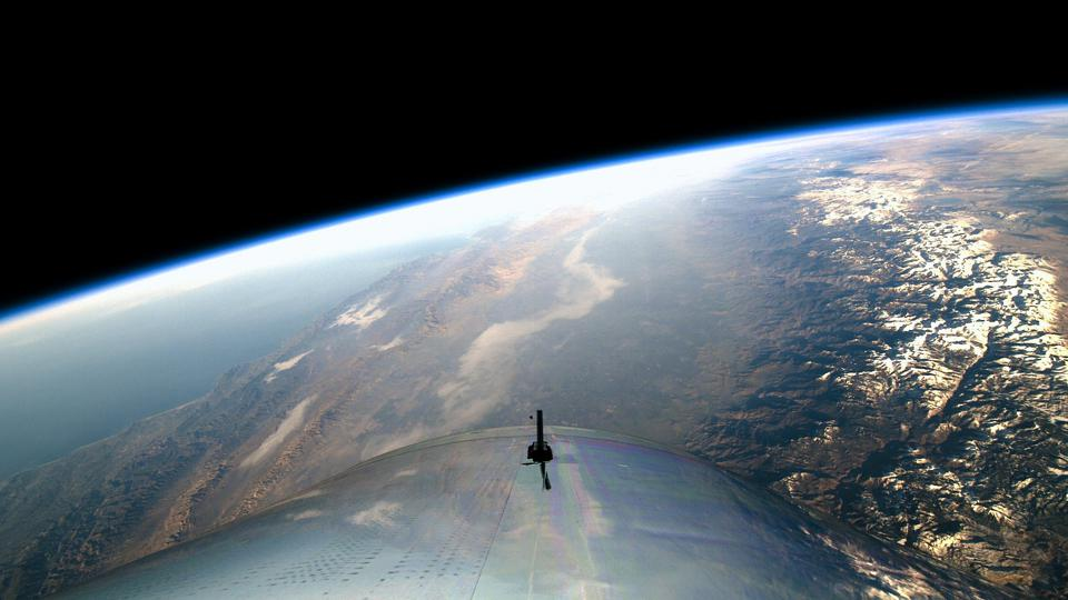 View from Space on Virgin Galactic's First Spaceflight