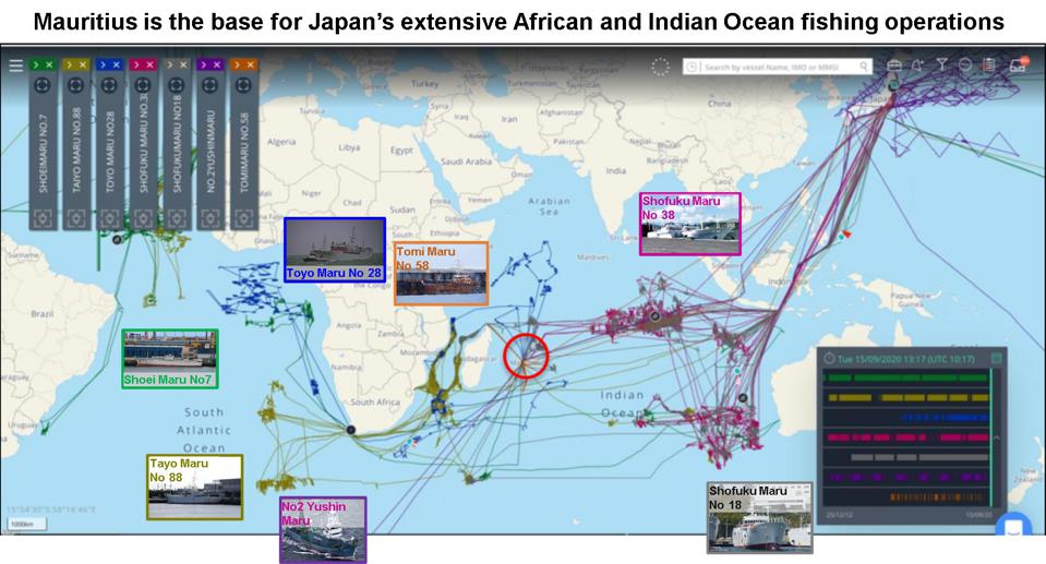 Satellite analysis reveals the extent to which Japan's fishing fleet has been using Mauritius as a base for their regional operations for the past three years