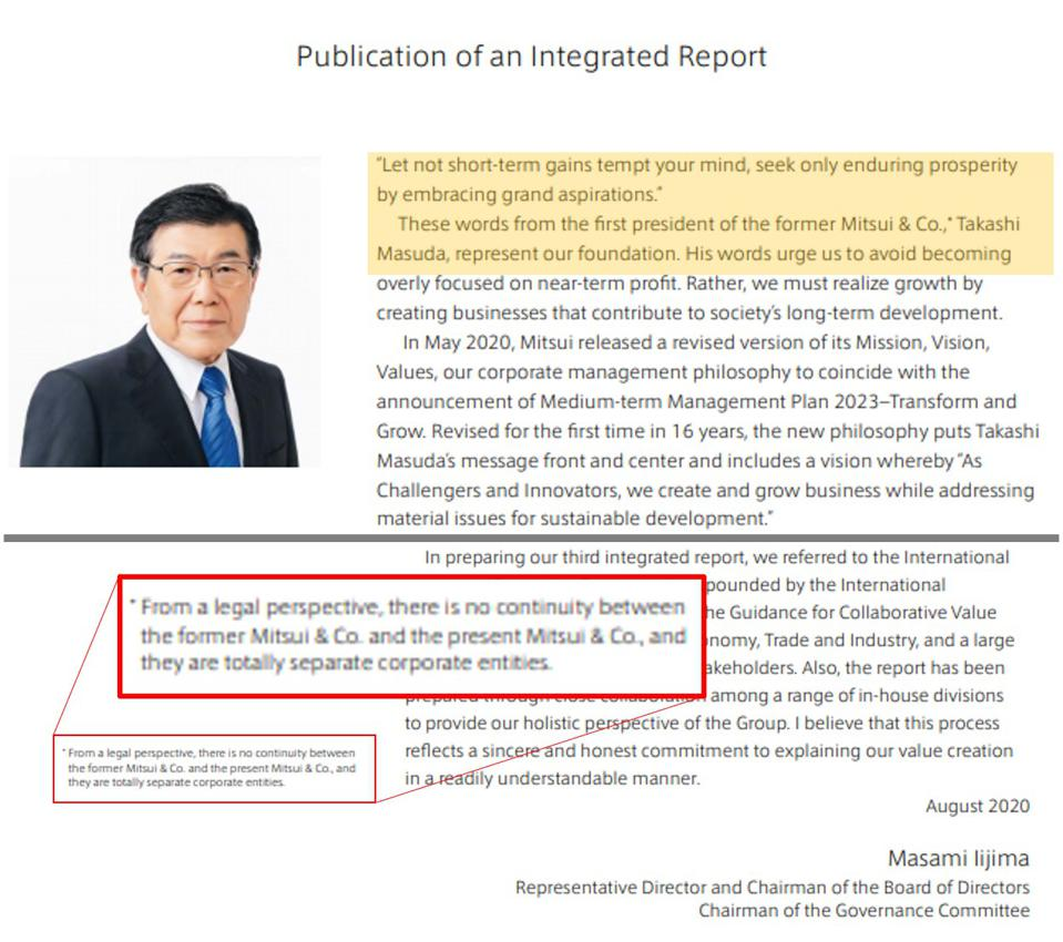 The Chair of Mitsui's Board refers statements from Takashi Masuda, the founder of the original Mitsui & Co in the opening page of Mitsui's 2020 Integrated Annual Report