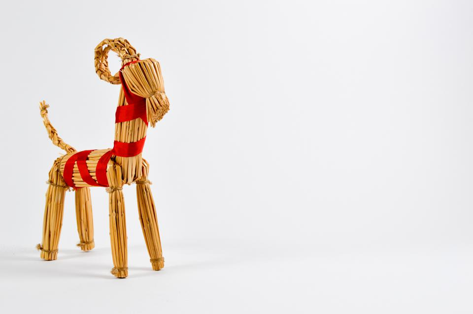 Socially Distanced: A Swedish Christmas goat made from hay or straw