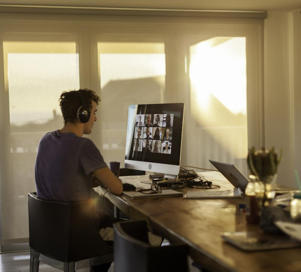 Startup employee working remotely and on a video call