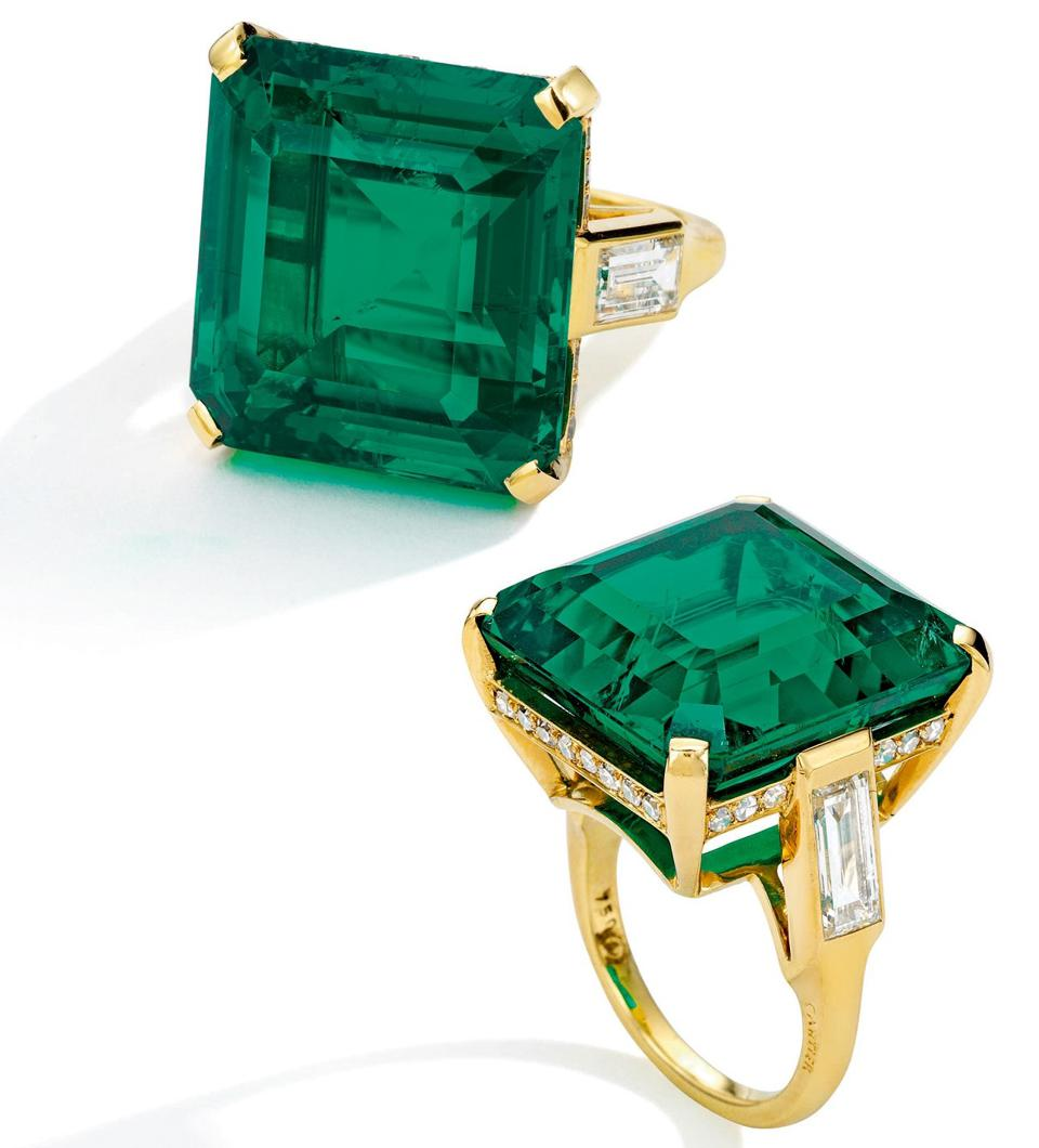 Cartier emerald and diamond ring from the collection of Cecile Zilkha fetched $3.6 million