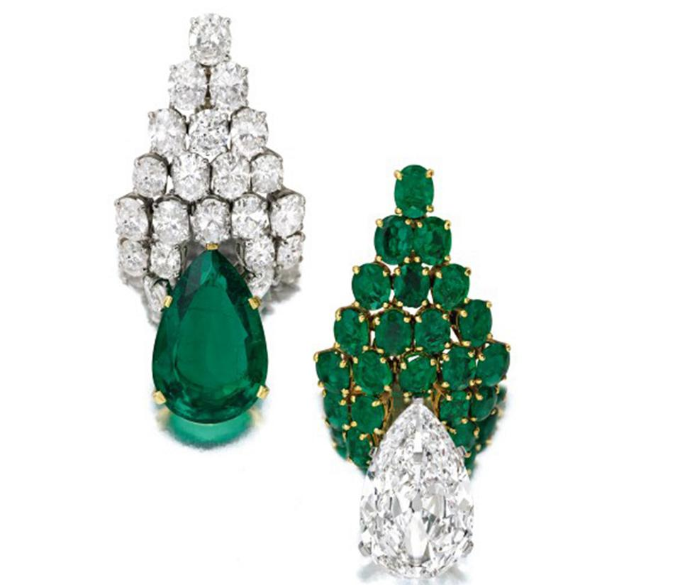 Emerald and diamond earclips by Bulgari fetched more than $1.1 million