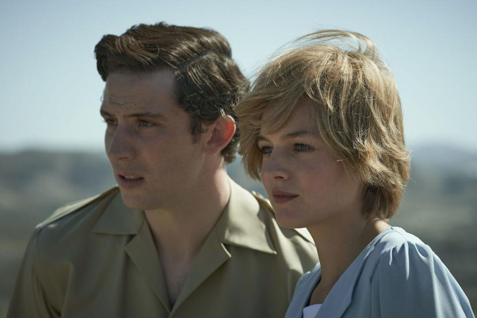 Josh O'Connor as Prince Charles and Elizabeth Debicki as Princess Diana star in the controversial fourth season of 'The Crown' which has been voraciously binge-watched by fans in 2020.