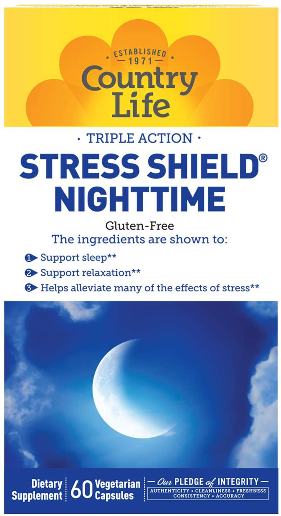 A box of Country Life Vitamins Stress Shield Nighttime against a white backdrop.
