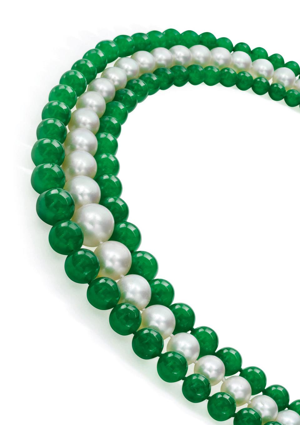 Jadeite, natural pearl and diamond necklace by Raymond Yard fetched $1.6 million