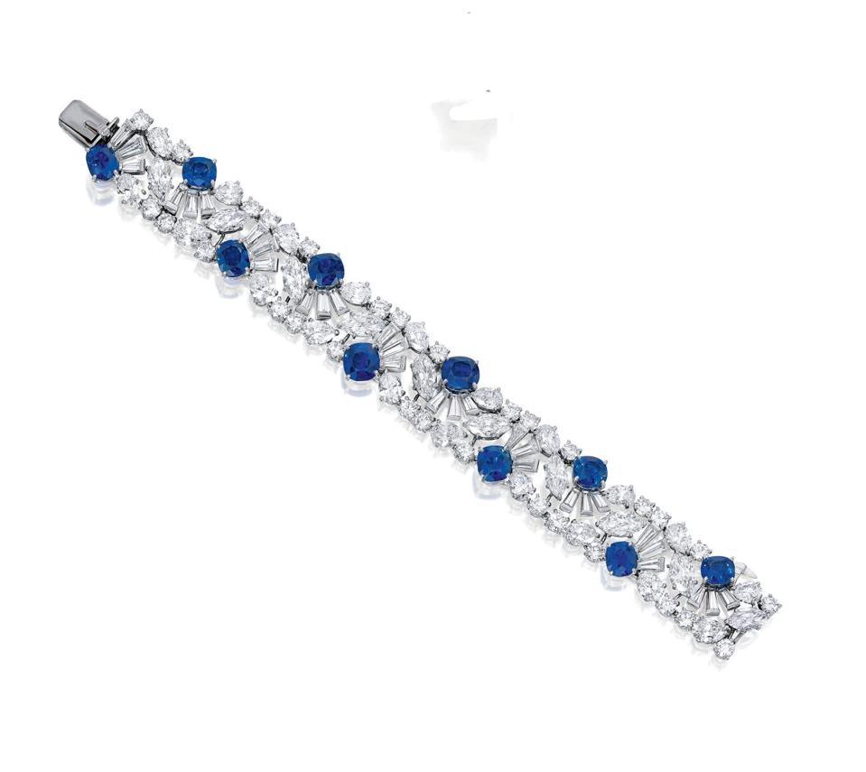Cartier sapphire and diamond bracelet in a fan design, circa 1960s, fetched $1 million