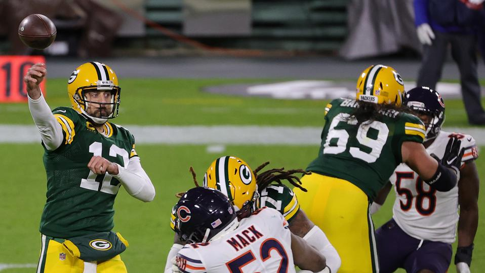 Aaron Rodgers #12 of the Green Bay Packers during a game against the Chicago Bears.