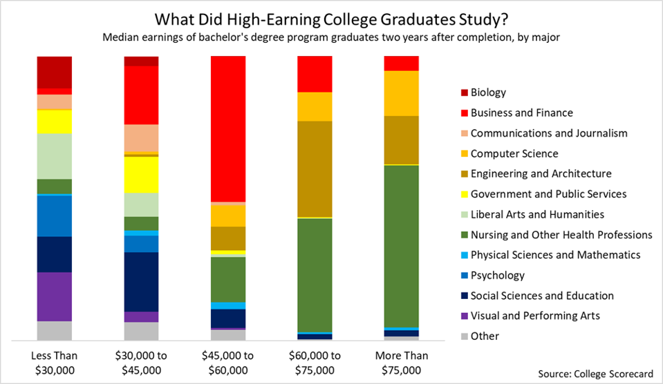 high earning college graduates studied nursing and engineering
