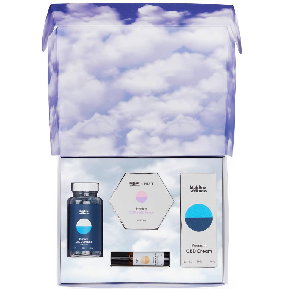 Inside of the Highline Wellness Dusk Kit with clouds printed on the box.