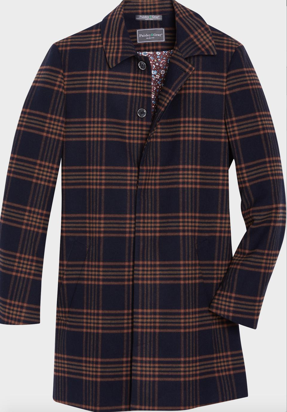 Paisley & Gray Slim Fit Car Coat in Orange & Navy Plaid