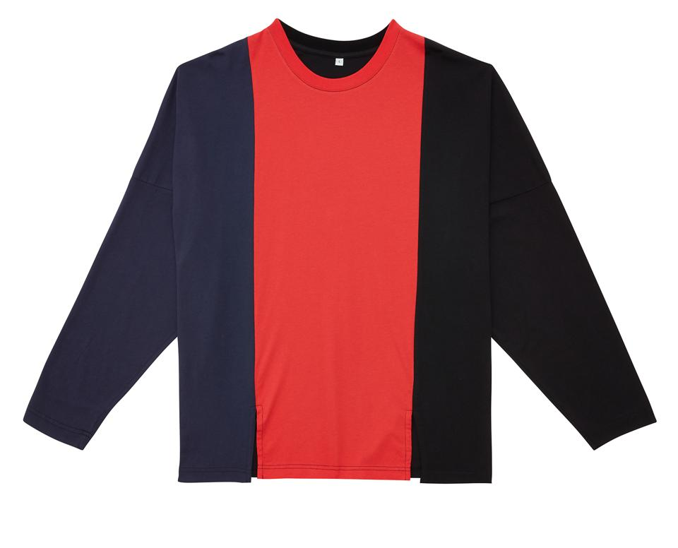 Made with 100% Organic/Sustainable Jersey Cotton 150 GSM with front slits to mimic unbuttoning pants in an oversized design featuring a navy, red, and black tri-colorway.