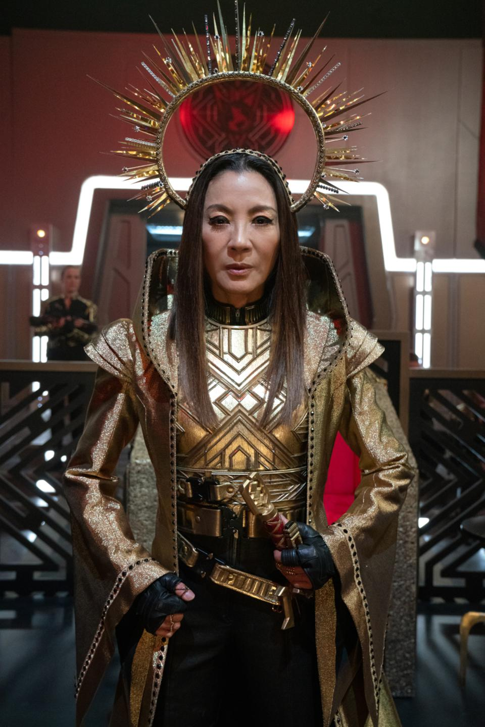 Empress Georgiou wears a fanciful headdress to a ceremony in Star Trek: Discovery