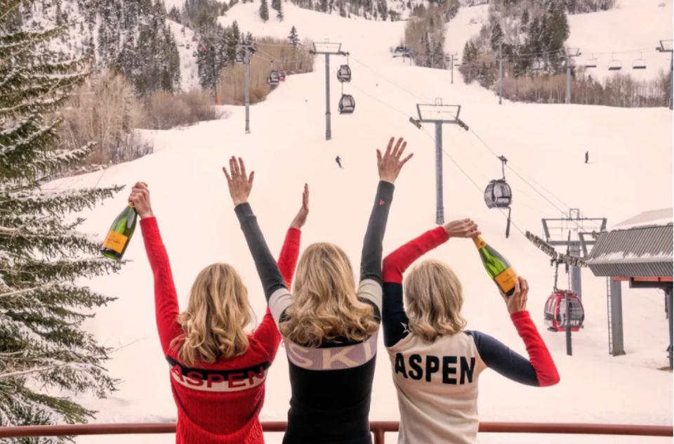 So much of the fun begins when the skiing is done, as evidenced by ″Après Champagne, Aspen, ″ an iconic image from photographer Gray Malin.