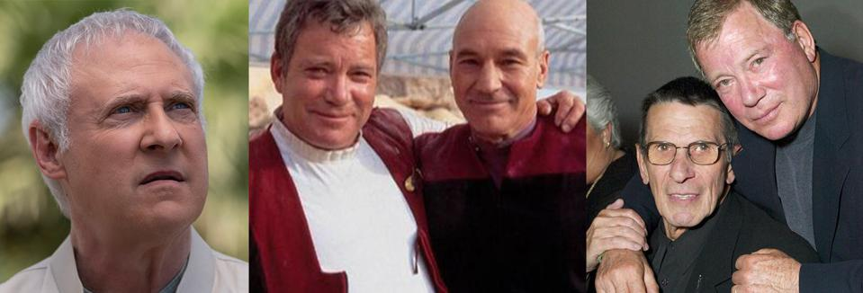 Stars of Star Trek, then and now: Brent Spiner in Star Trek: Picard, William Shatner and Patrick Stewart filming Star Trek: Generations, and the late Leonard Nimoy with William Shatner.