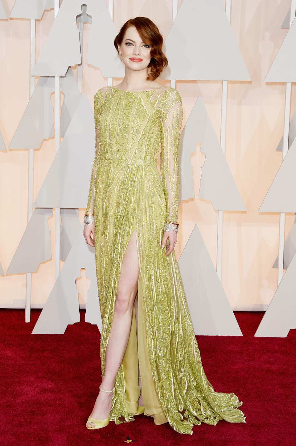 Elie Saab designed dress worn by Emma Stone
