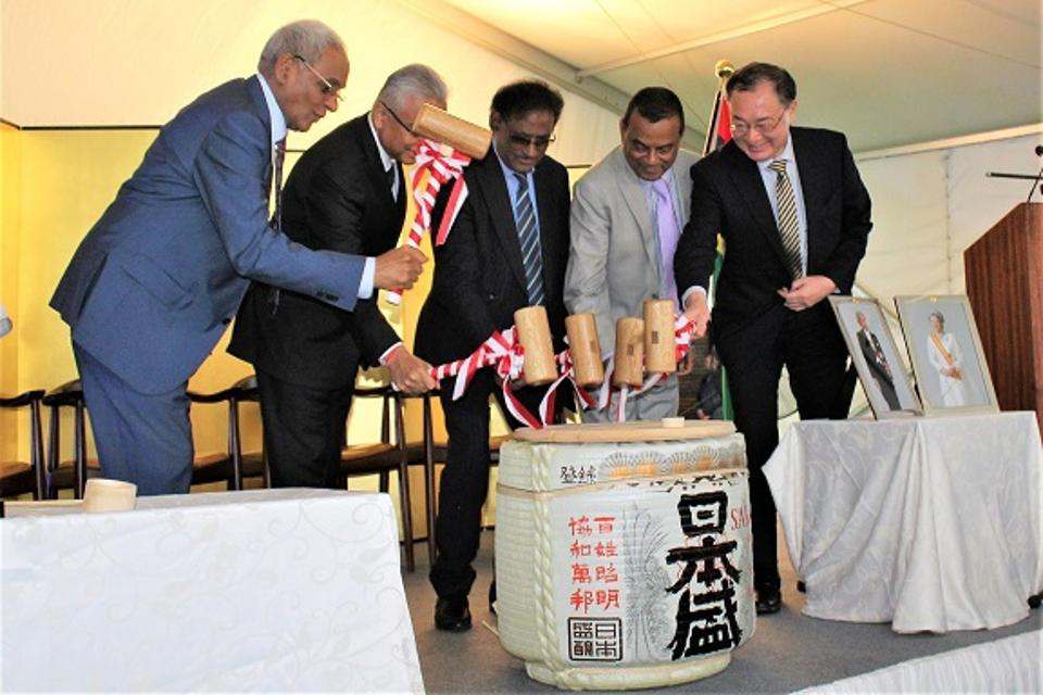 Japan's Ambassador Kato hosting a reception in 2018 with Mauritius Prime Minister Jugnauth, Deputy Prime Minister Ivan Collendavelloo