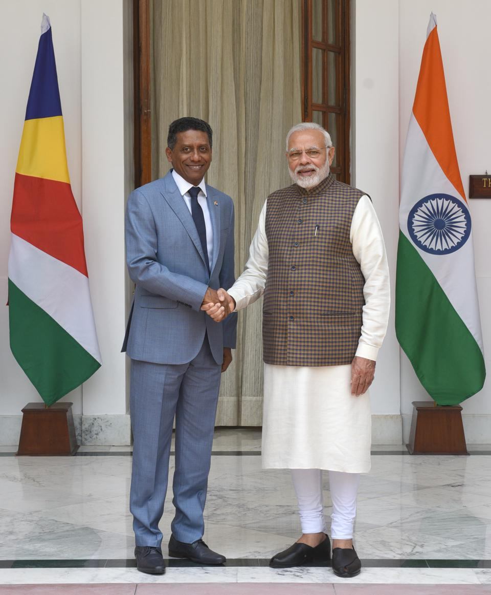 25 Jun 2018: Indian PM Modi and Seychelles President Danny Faure. The previous week, the Parliament of Seychelles refused to ratify the naval base that India has been planning to build on the Indian Ocean Island of Assumption.