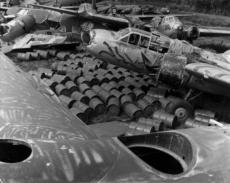 8 Sep 1945: the bombed ruins of the Mitsubishi airplane factory in Nagoya