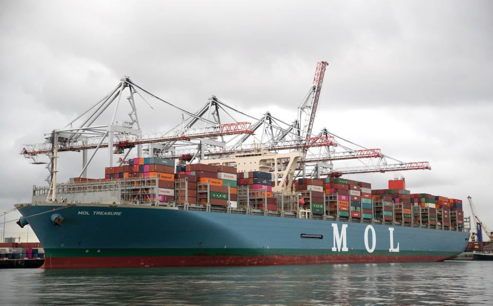 Mitsui OSK Lines (MOL) is one of the world's largest shipping lines.  Seen here, the container ship MOL Treasure