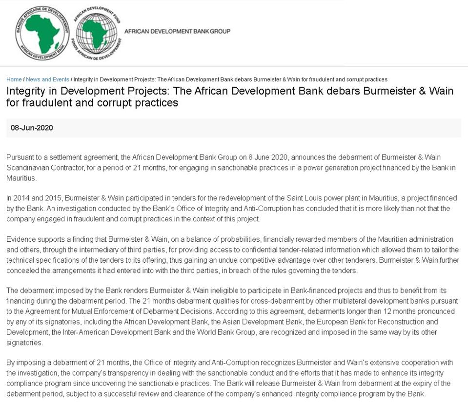 8 Jun 2020: AfDB's Press Release revealing the agreement reached with BWSC for a 21 month ban from all multilateral funded energy projects