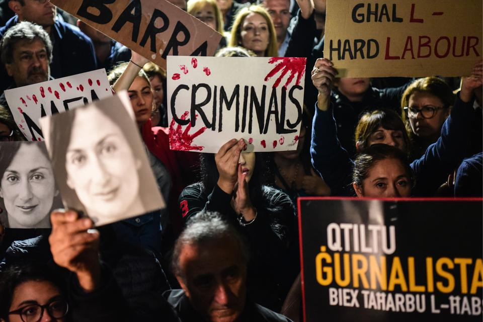 The murder of journalist Daphne Caruana Galizia sent shockwaves across Europe triggering massive protests and pressure for Malta's Prime Minister Joseph Muscat to resign. Protests seen here from 29 November 2019.