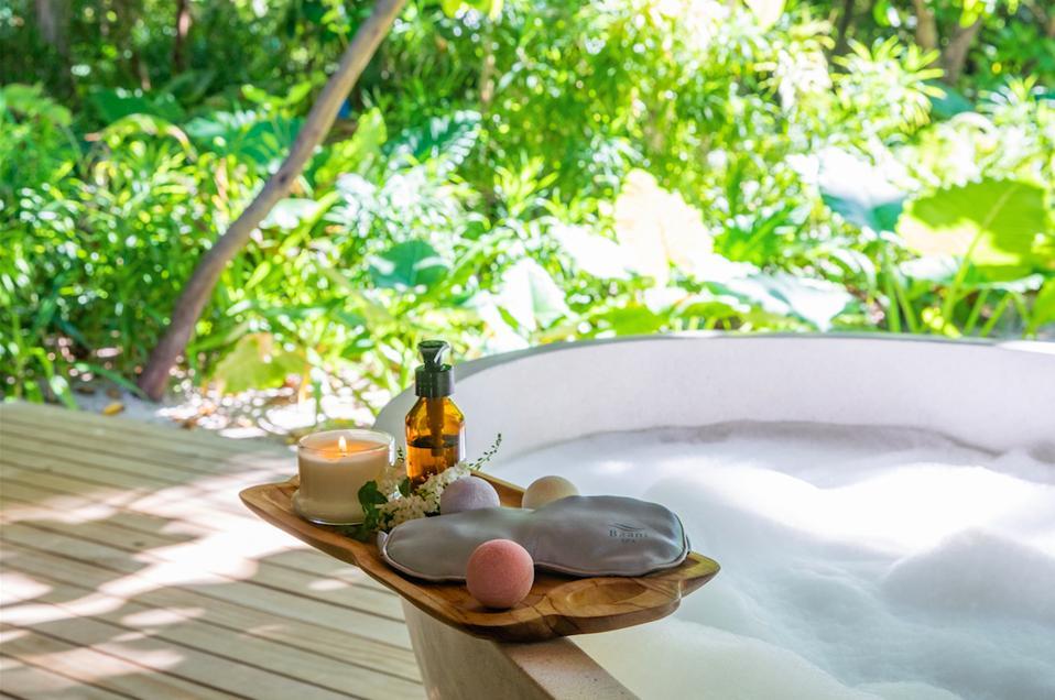 Amenities at the wellness-focused Kagi Maldives Spa Island.
