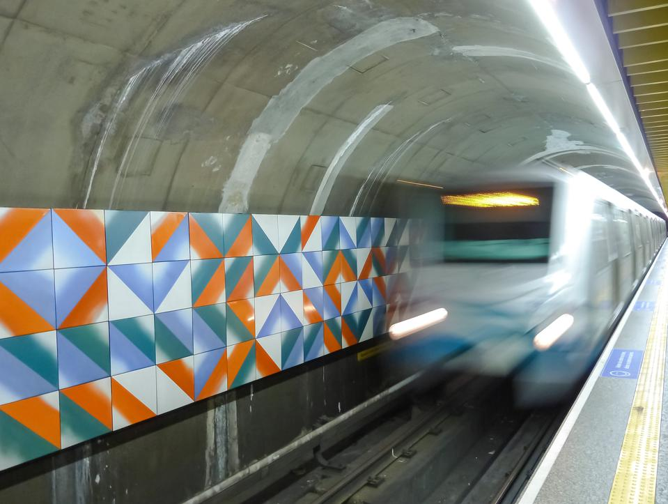 Sao Paulo metro station interior details, Brazil