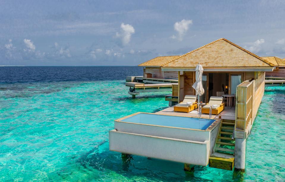 An overwater villas at just-opened Kagi Maldives Spa Island.
