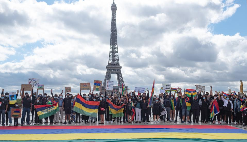 29 Aug 2020: there were protests around the world by the Mauritian diaspora against what they saw as an ecological crime against their country.  Seen here, the Mauritian diaspora in Paris protesting.